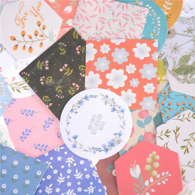 40Pcs Floral Texture Paper Sticker Diy Diary Scrapbooking Seal Sticker Decor BR