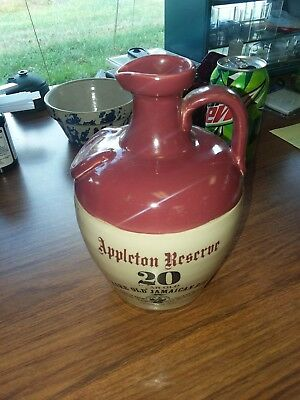 Appleton Reserve 20 Year Rare Old Jamaican Rum Empty Ceramic Jug Bottle Vintage