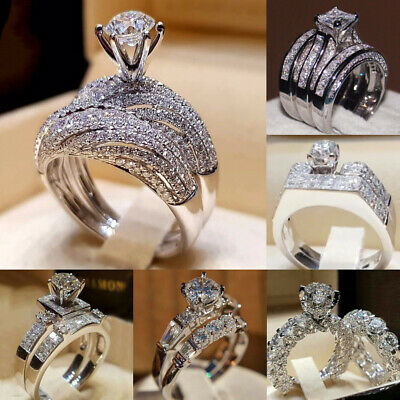 Fashion Women 925 Silver Wedding Set Rings Round Cut White Sapphire Size 6-10
