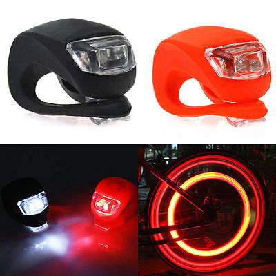 Black Silicone Bike Bicycle Cycling Head Front Rear Wheel LED Flash Light Lamp O
