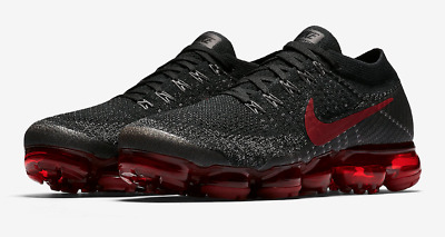 NEW Nike Air Vapormax Flyknit  Bred Black Dark Team Red Midnight Fog 849558-013