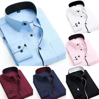 New Mens Long Sleeve Shirt Button Up Business Work Smart Formal Plain Dress Top