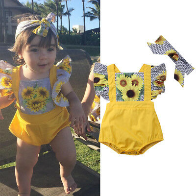 Newborn Infant Baby Girl Sunflower Bodysuit Romper Headband Outfits Clothes Set