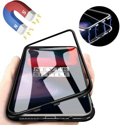 Flip Magnetic Adsorption Metal Bumper Glass Back Case Cover For One Plus 6T / 6