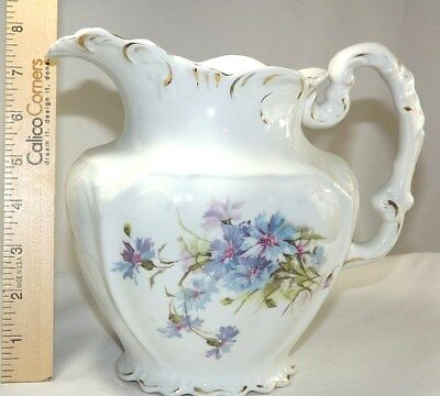 Water Pitcher Ewer Semi Porcelain Red & Blue Floral with Green Leaves