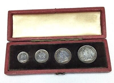 1901 Great Britain Queen Victoria Veiled Head Maundy Money Set In Box
