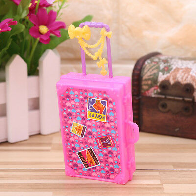 Doll Suitcase Toys Travel Furniture Dollhouse Luggage Simulation Kids Pink Gift
