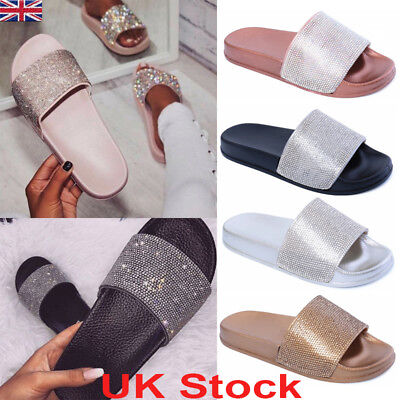 7451d187e73b Womens Diamante Slip On Slides Bling Sparkly Sliders Ladies Summer Sandals  Flat