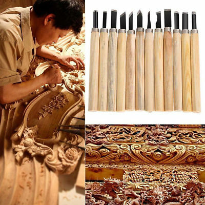 12Pcs Wood Carving Hand Chisel Woodworking Tool Set Woodworkers Gouges ON