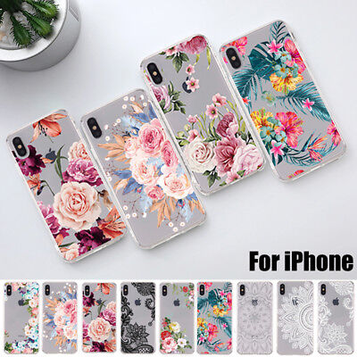 For iPhone XS Max XR X 8 7 6s Plus Slim Soft Clear Floral Painted TPU Case Cover