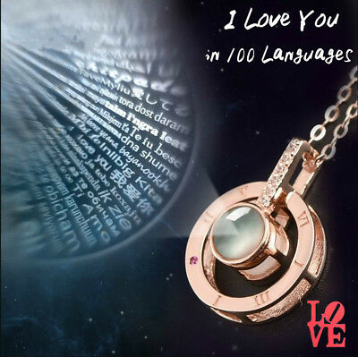I LOVE YOU in 100 language 925 Silver Gold Pendant Necklace Memory of LOVER Gift