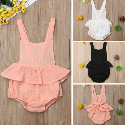 UK Newborn Baby Girl Bow-knot Sleeveless Romper Jumpsuit Clothes Outfit Sunsuits