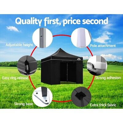 Pop Up Gazebo Portable Outdoor Canopy Wedding Party Instant Tent 3x3m Black