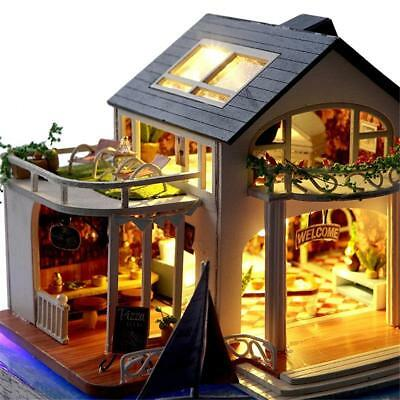 DIY Miniature Wooden Hawaii Villa Dollhouse Set LED Light Castle Gift With Cover