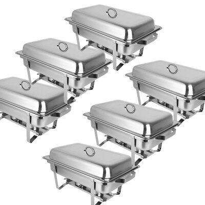 6 Pack Stainless Steel Chafing Dish Sets Food Warmers 9L Food Pans Fuel Spoons