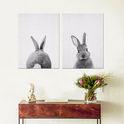 Modern Oil Painting Bunny Rabbit Canvas Home Decoration Living Room Grey &White