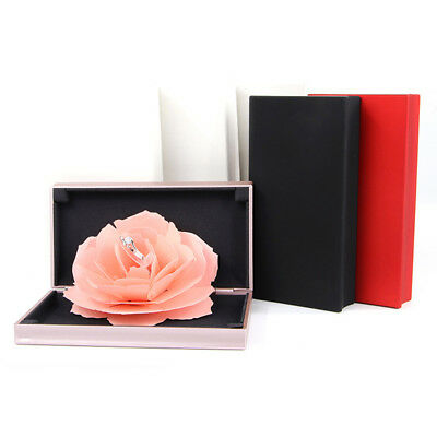 Unique Pop Up Rose Wedding Engagement Ring Box Surprise Jewelry Storage Case Pou