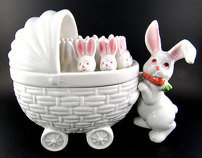 Fitz & Floyd Candy Trinket Box Bunny RUBBIT & Carriage With  Babies (E5)