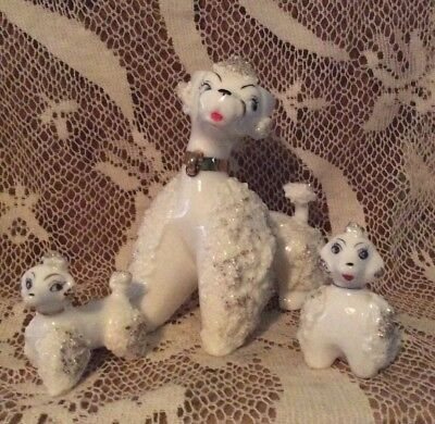 Vintage White Spaghetti Poodle & Pups w/ Gold Accent