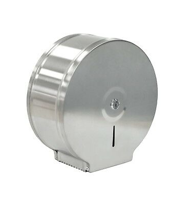 Mini Jumbo Toilet Paper Tissue Roll Dispenser | Brushed Stainless Steel Washroom