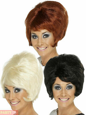 Ladies 60s Beehive Wig Adults 1960s Patsy Style Womens Fancy Dress Accessory