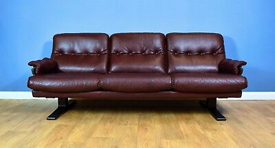 Mid Century Retro Swedish Burgundy Leather Arne Norell 3 Seat Sofa Settee 1970s