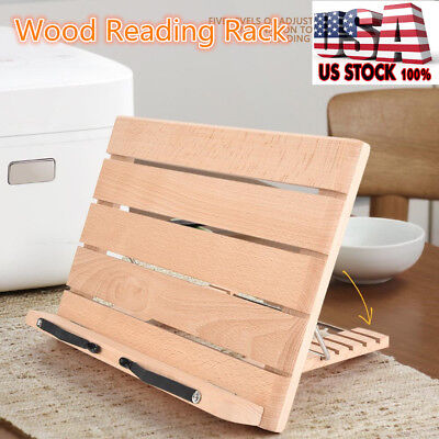 5 Level Adjustable Wood Book Reading Rack Stand Holder W. Page Paper Clips USA
