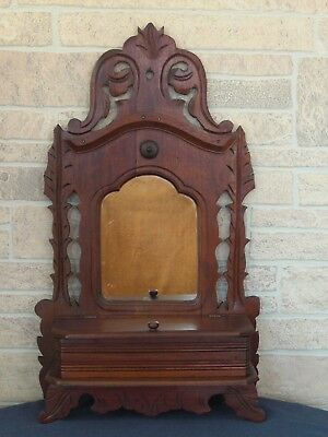 Antique Wooden Victorian Style 19th C Vanity Shaving Mirror, Storage Compartment