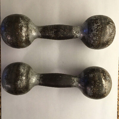Vintage Antique pair of 3 pound dumbbells dumbells