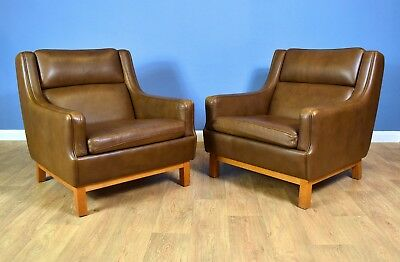 (1 of 2) Mid Century Retro Danish Brown Leather Mogensen Style Lounge Arm Chair