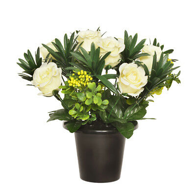Grave Pot Artificial Open Rose With Berries 25cm Cream