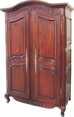 Arched Top Solid Mahogany Armoire  2 Doors Double Wardrobe H200 x W131 x D69 cm