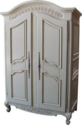 Arched Top White Mahogany Armoire  2 Doors Double Wardrobe H200 x W131 x D69 cm