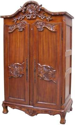 Solid Mahogany Armoire  2 Doors Double Wardrobe On Feet H201 x W131 x D69 cm