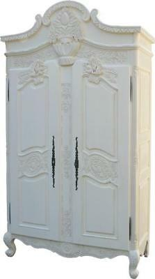 White Mahogany Armoire 2 Doors Double Wardrobe On Feet H201 x W131 x D69 cm