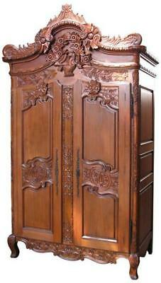Carved Tall Solid Mahogany Armoire  2 Doors Double Wardrobe H254 x W145 x D54 cm