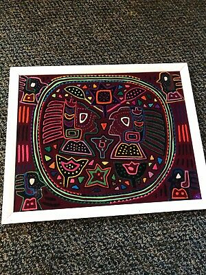 Vintage Kuna Indian Hand-Stitched Decorative Indian Design Mola Panama, Framed