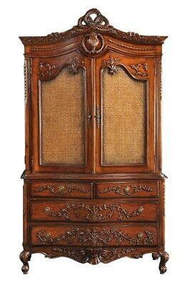 Carved Cabinet Antique Wax Linen Press 2 Doors 4 Drawers Cabriole Legs H218cm