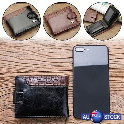 Mens Short Leather Wallet RFID SAFE Contactless Card Blocking ID Protection