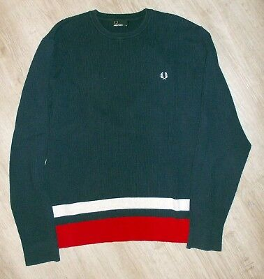 Fred Perry Rundhals Pullover Feinstrickpullover Dunkelblau Rot K3201 608  5407