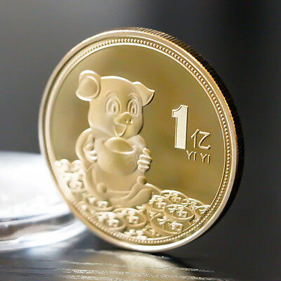 Gold Foil Paper Pig Commemorative Coin Chinese Zodiac Souvenir New Year Gift BSC