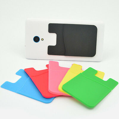 WR_ Silicone Mobile Phone Wallet Card Stick On Cash Credit Card Holder Pouch Pea