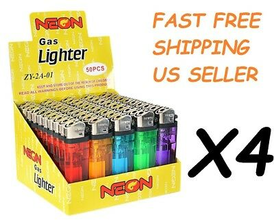 200 Ct Full Size Disposable Cigarette Lighters Assorted Color Wholesale Lot NEON