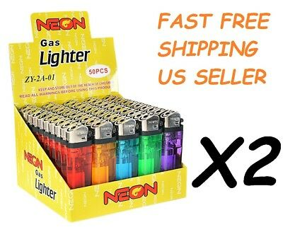 100 Ct Full Size Disposable Cigarette Lighters Assorted Color Wholesale Lot NEON