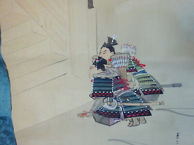 Large Antique Rare Japanese Scroll Painting Samurai Stairs Signed
