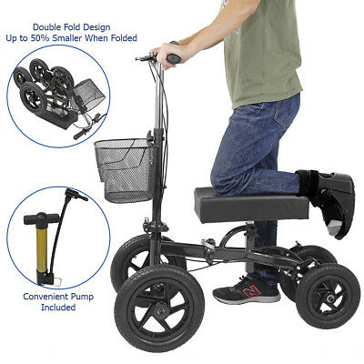Clevr Quad Wheel All Terrain Foldable Medical Knee Walker Scooter Roller, Black
