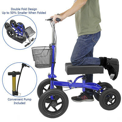 Clevr Quad Wheel All Terrain Foldable Medical Steerable Knee Walker Scooter Blue
