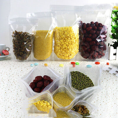 20/50pcs Seal Transparent Stand Up Bags Pouches Zip Lock Storage Bag Food Grade