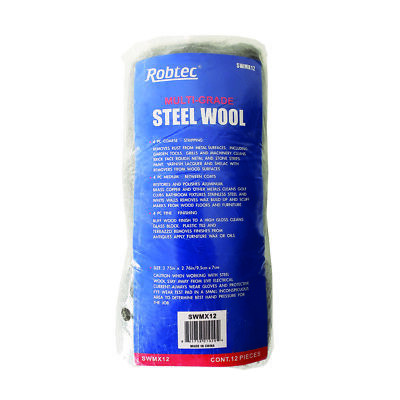 Robtec Assorted Steel Wool, Coarse, Medium, Fine (12-Pack)