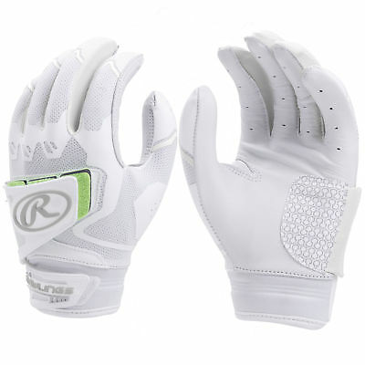 Rawlings Workhorse Pro Women's Fastpitch Softball Batting Gloves, White/White, L